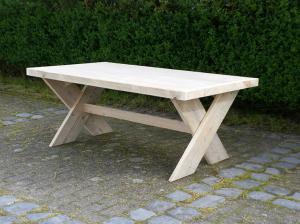 ≥ ronde steigerhouten tafel met houten of stalen kruispoot